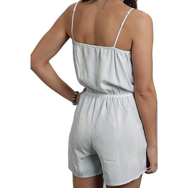 Stetson Women's Bleached Out Tencel Romper Blue Jumpsuit LG