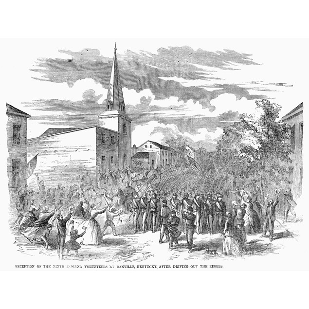 Civil War: Perryville. /Nunionists In Danville, Kentucky, Greet The Ninth I