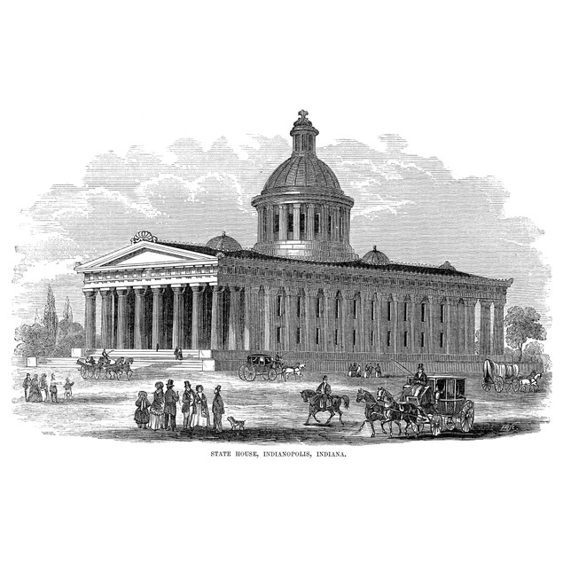 Indianapolis, 1854. /Nstate House At Indianapolis, Indiana. Wood Engraving,