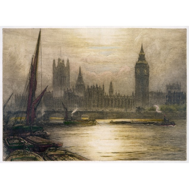 London, C1920. /Nview Of The Palace Of Westminster And Big Ben In London, E