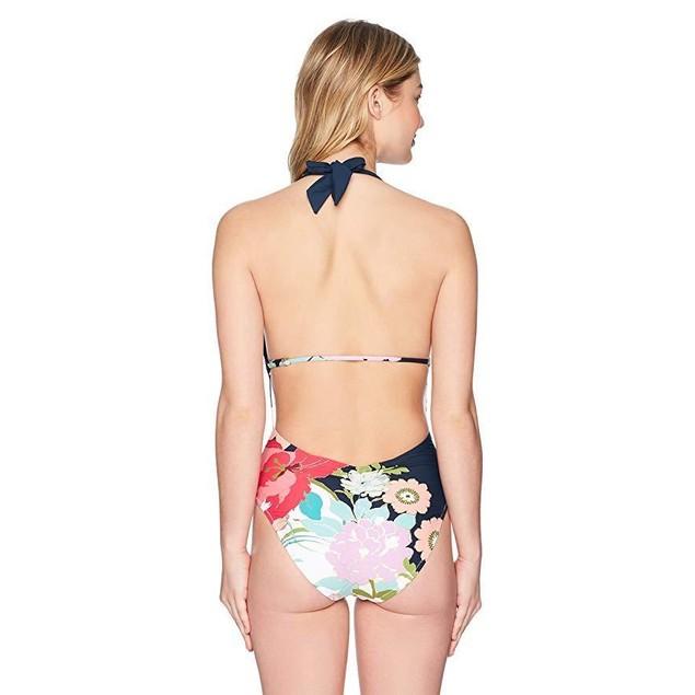 Trina Turk Women's V-Front Keyhole Halter One Piece Swimsuit,  Sz: 8