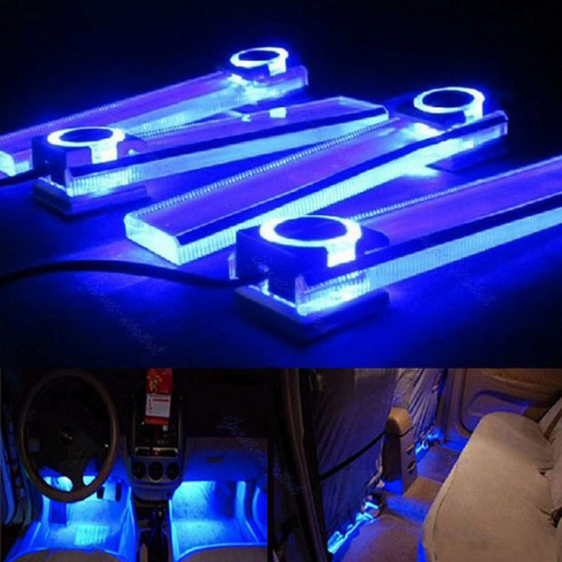 12V 4 in 1 Car Charge LED Interior Decoration Floor Decorative Light Lamp