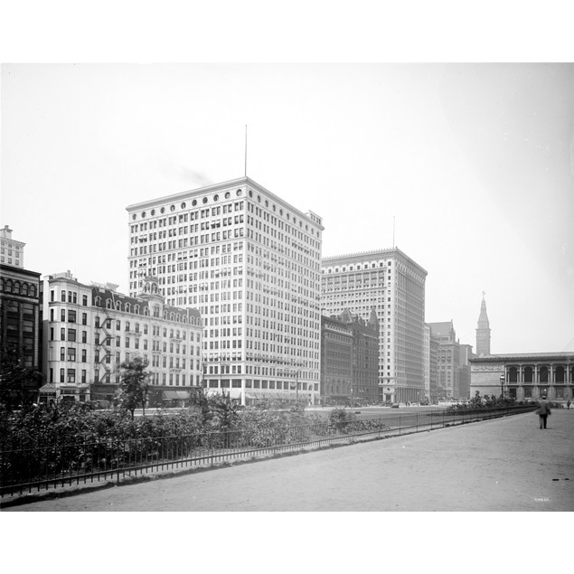 Chicago: Santa Fe Building. /Na View From Grant Park Of Buildings Along Sou