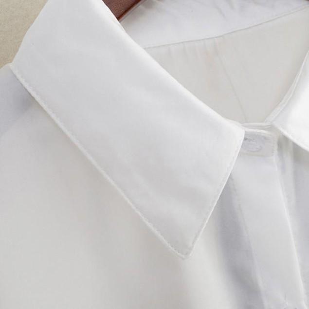 Women Long Sleeve Rose Flower Blouse Turn Down Collar Chiffon Shirts