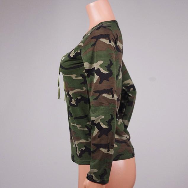 Women Long Sleeve Shirt Slim Casual Blouse Camouflage Print Tops
