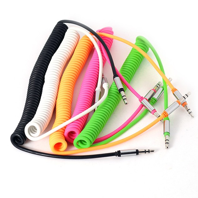 3.5 mm Coiled Stereo Auxiliary Audio Cable Male To Male