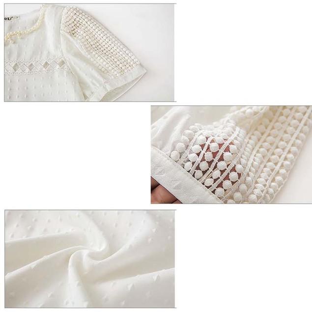 Lady Women Lace Short Sleeve Shirt V Neck Doll Chiffon Blouse Tops