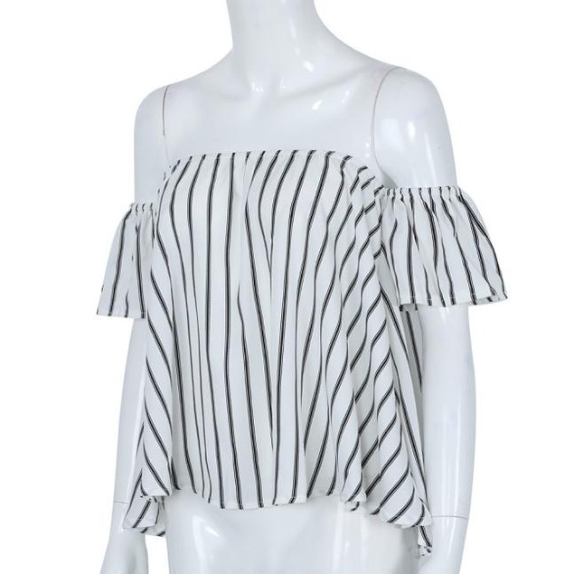 Women Off Shoulder Stripe Casual Blouse Shirt Tops