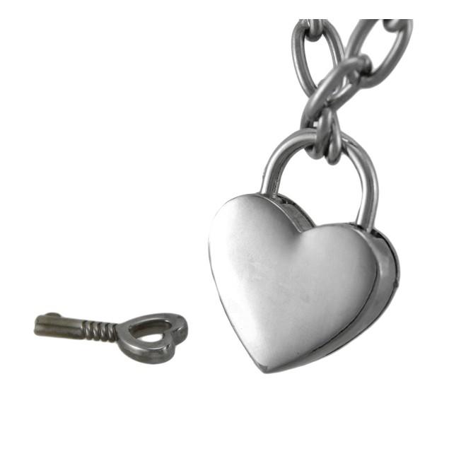 Chrome Finished Heart Padlock Pendant Choker Pendant Necklaces