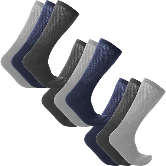 9-Pairs: Unisex Diabetic Crew Socks
