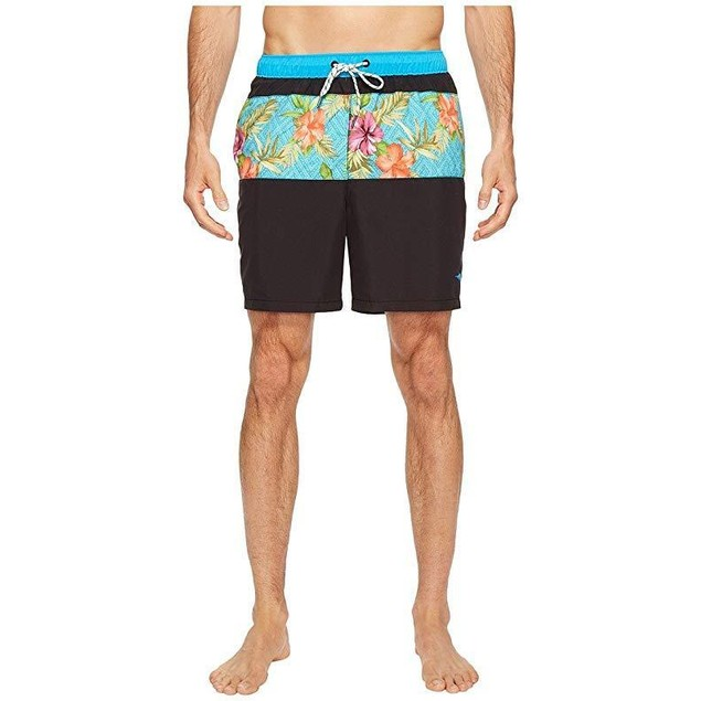 Tommy Bahama Men's Naples Trikala Stripe Swim Trunk Black Sz: Large