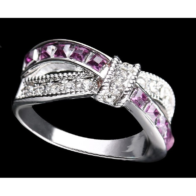 1.50 CTW Amethyst Crisscross Rhodium Plated Ring