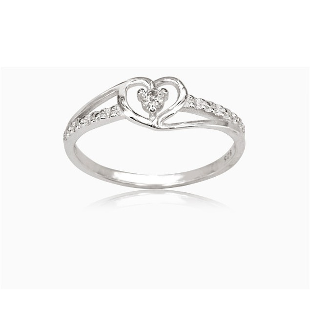 18K White Gold Over Brass CZ Accented Heart Ring