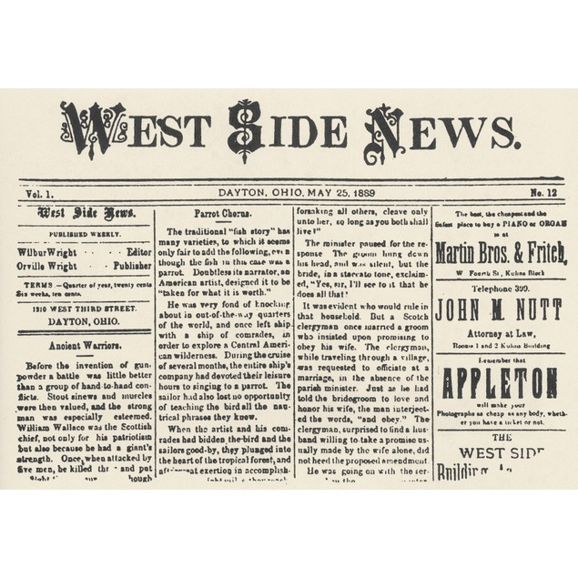 Wright Brothers Paper. /Ntitle-Page Of The West Side News, A Weekly Newspap