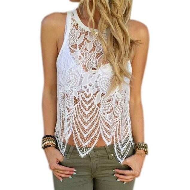 Women Lace Crochet Vest Tank Top Casual Sleeveless Blouse