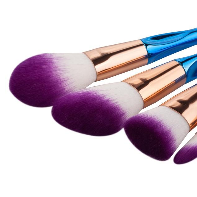 8-Piece Cosmetic Brush Set with Metallic Handles