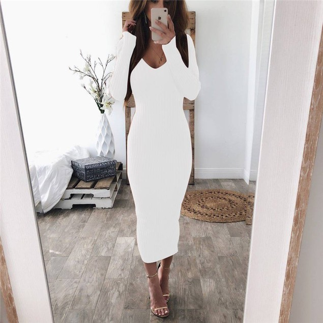 Women Solid Color V-neck Long Sleeve Striated Dress