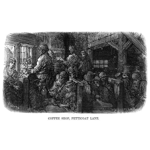 Dor_: London, 1872./N'Coffee Shop, Petticoat Lane.' Wood Engraving After Gu