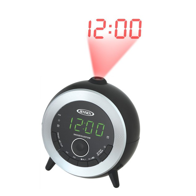 Jensen Projection Clock Home Audio Radio, Black (JCR-225)