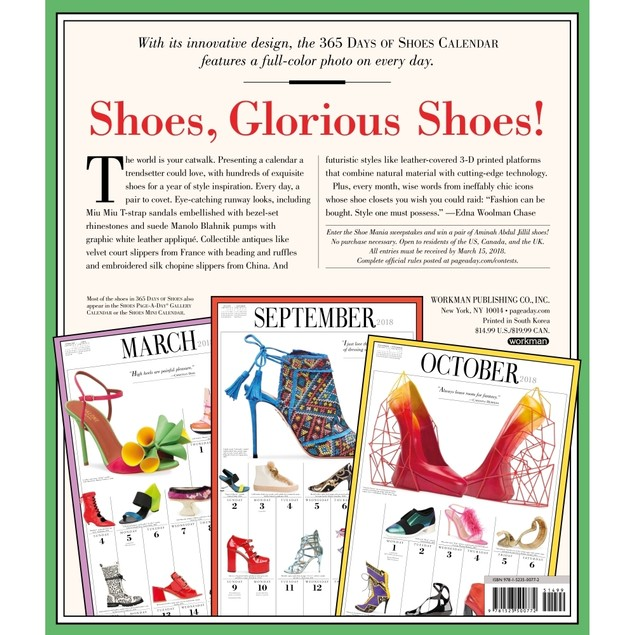 365 Days of Shoes Wall Calendar, Fashion by Calendars