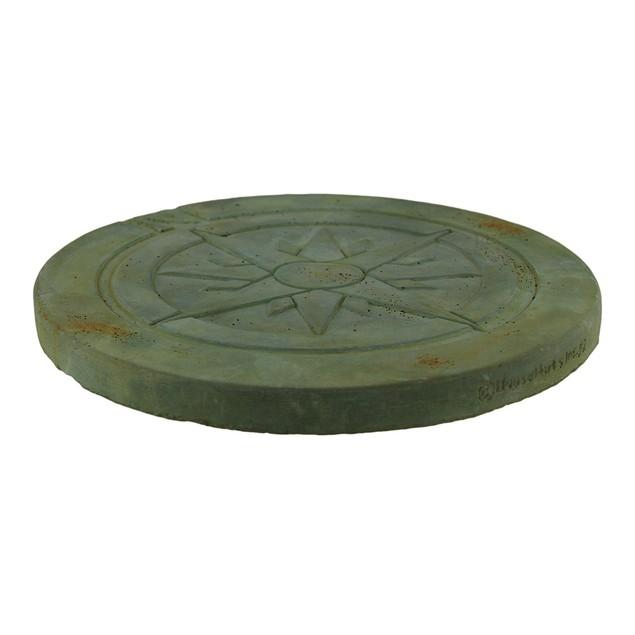 Compass Rose Symbol Green Verdigris Finish Round Stepping Stones