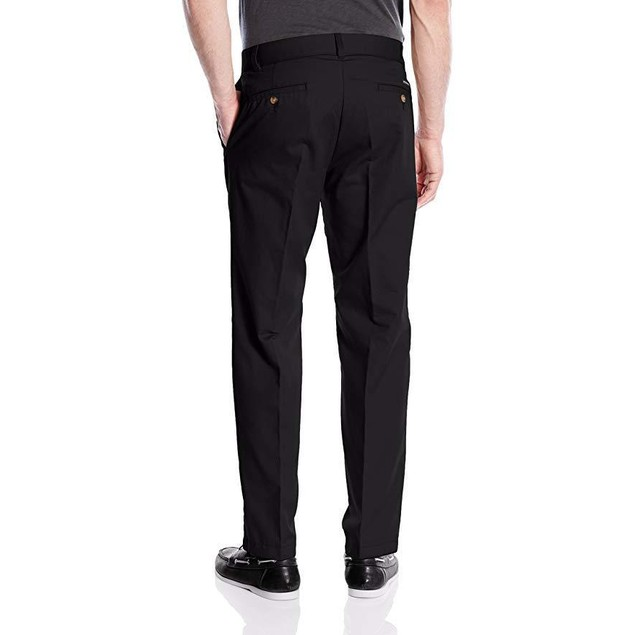 Dickies Men's Flat Front Khaki Pant-Relaxed Straight Fit, Black, 42W x
