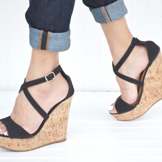 Mata Women's Adjustable Ankle Strap Wedge Platform Sandals