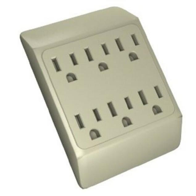6 Way Plug Wall Outlet Power Strip Socket Grounded Beige Tan Splitter