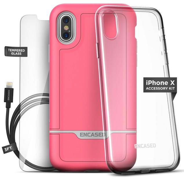 5-Piece Rebel Rugged Tough Case iPhone X Essentials Accessory Bundle Kit