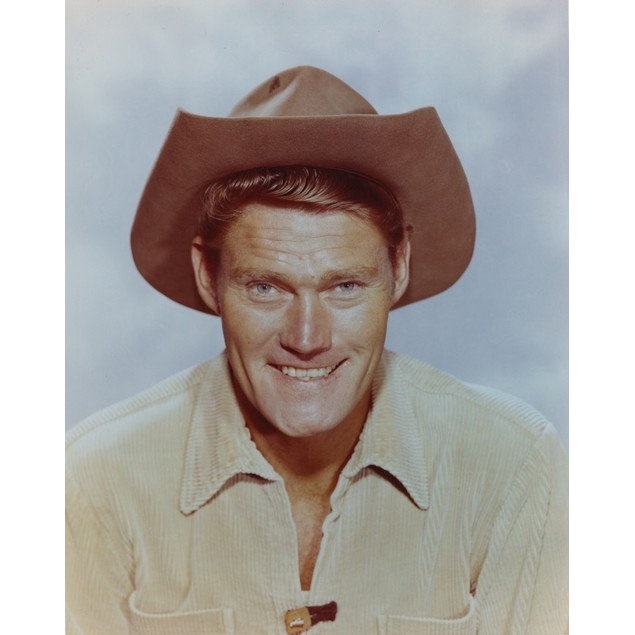 Chuck Connors smiling in Cowboy Outfit Portrait Poster