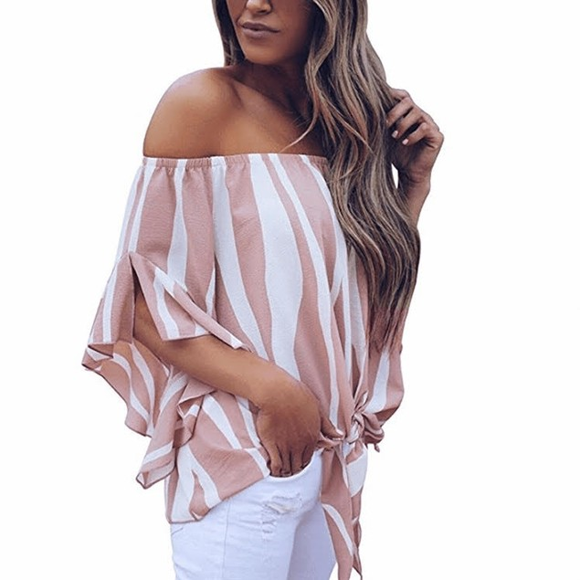 Vertical Striped Flare Sleeve Bardot Blouse
