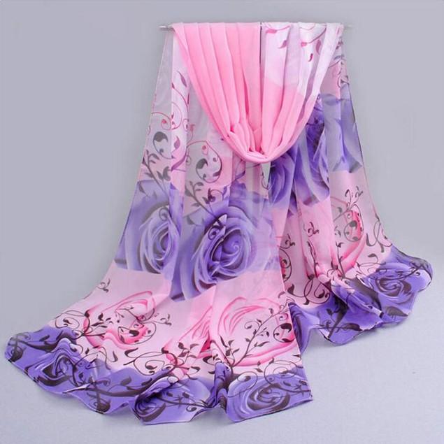 Women Beautiful Rose Pattern Chiffon Shawl Wrap Wraps Scarf Scarves