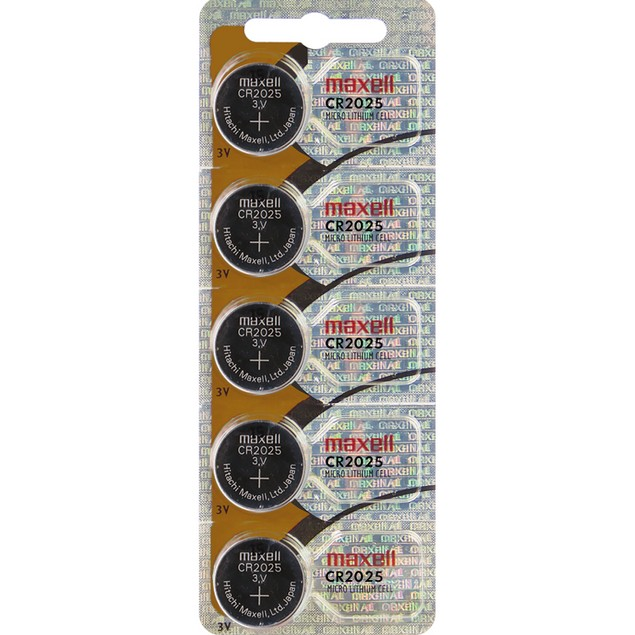 Maxell CR2025 3-Volt Lithium Coin Cell Batteries (5 Batteries)