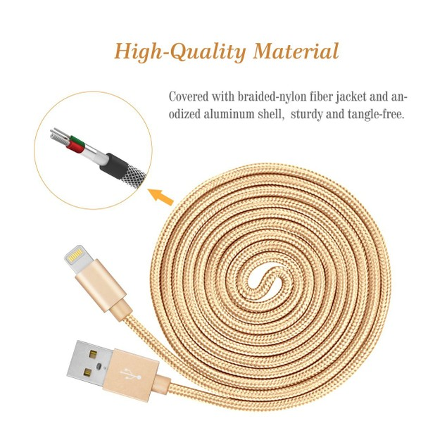 3-Pack MFI Apple Certified 10-Foot Braided Lightning Cables for iPhone/iPad