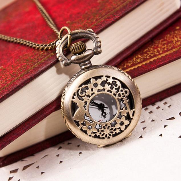 Vintage Retro Bronze Quartz Pocket Watch Pendant Chain Necklace