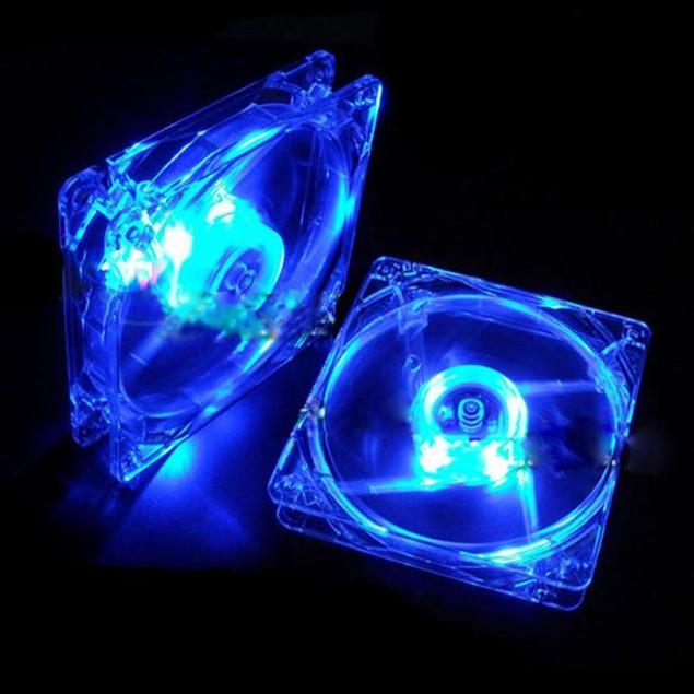 Blue Quad 4-LED Light Neon Clear 120mm PC Computer Case Cooling Fan Mod