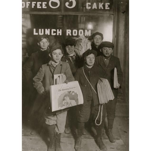 3 A.M. Sunday, February 23rd, 1908. Newsboys selling on Brooklyn Bridge. Ha