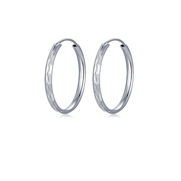Sterling Silver Diamond-Cut 28mm Endless Hoop Earring