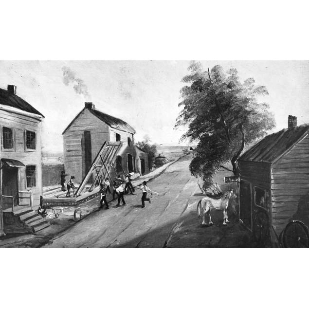 New York: House Raising. /Nraising A House On Grand Street (Now Eldridge),