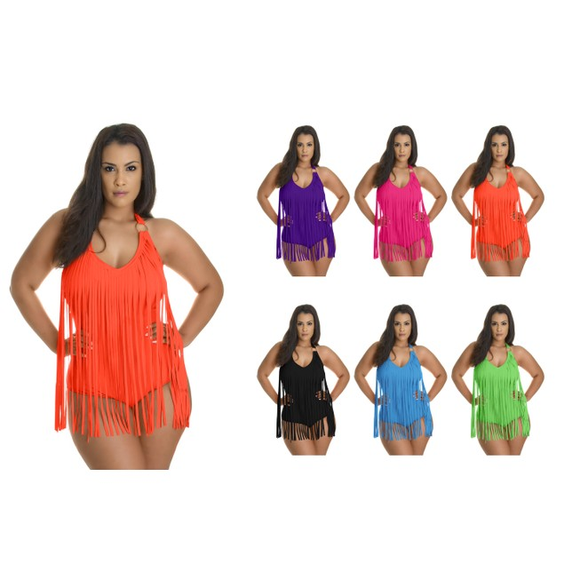 Plus Size Fringe One-Piece Swimsuit