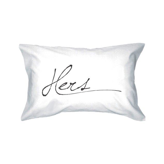 Simple Elegant His and Hers Pillowcase for Couples