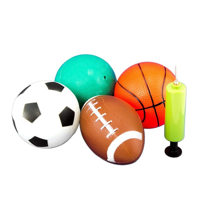 Set of 4 Sports Balls Soccer Basketball Playground Football
