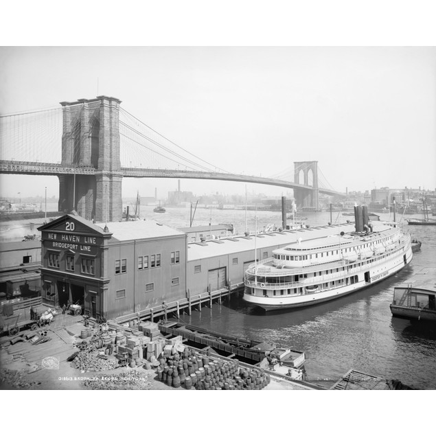 Brooklyn Bridge, C1905. /Nsteamboat Parked At A Marine Terminal Next To The