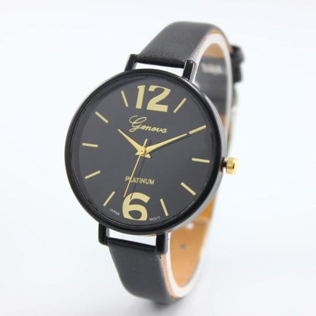 Geneva Women's Faux Leather Analog Quartz Wrist Watch