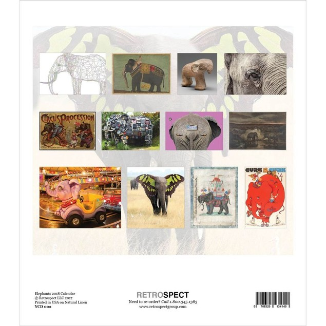 Elephants Desk Calendar, Wildlife by Retrospect Group