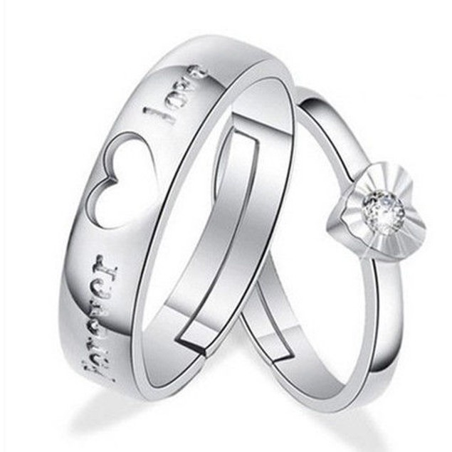 Lovers Heart Crystal Couple Ring Band