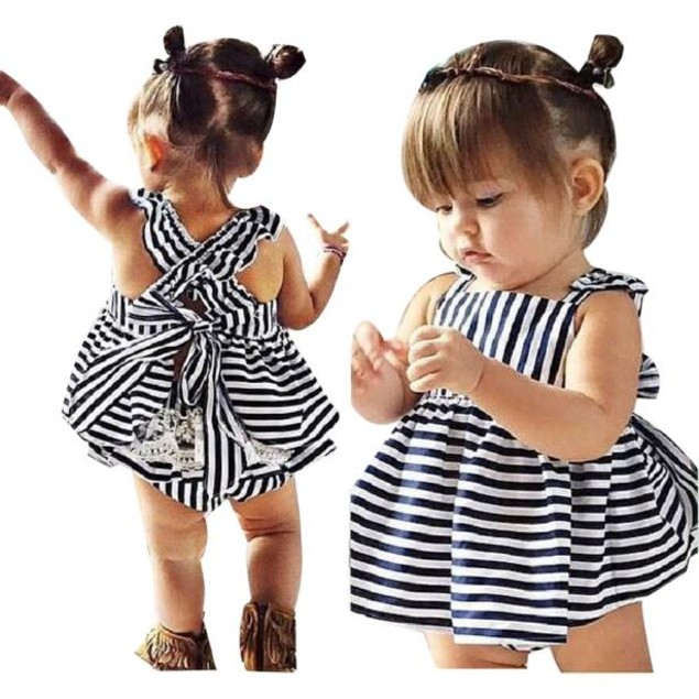 Girls Clothes Summer Sunsuit Infant Outfit Stripe Backless Dress Brief
