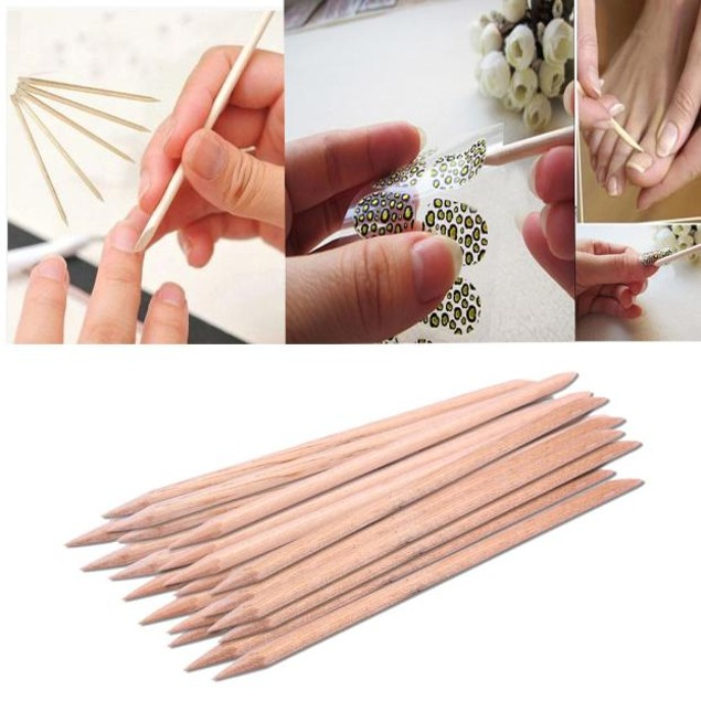 20Pcs Nail Art  Wood Stick Cuticle Pusher Remover Pedicure Manicure Tool