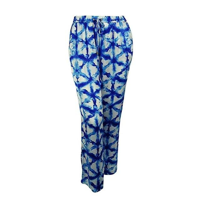 MICHAEL Michael Kors Womens Plus Sateen Printed Wide Leg Pants Blue 3X