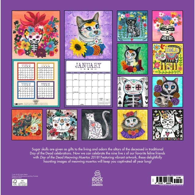 Day of the Dead Meowing Muertos Wall Calendar, Ethnic Art by Quarto